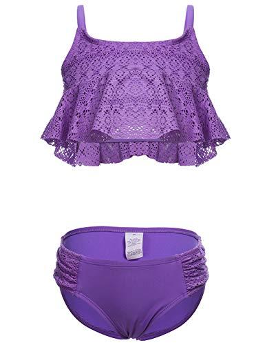 DUSISHIDAN Badeanzug bademode Kinder mädchen Bikini Zweiteiliger Swimsuit Hohle Rüsche Volltonfarbe Lila M