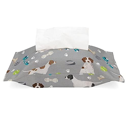 Funda de pañuelos para bolsas de pañuelos, soporte para servilletas, puntero inglés, perro y juguetes, tela gris, lino y algodón, dispensador de pañuelos desmontable para casa, oficina, coche