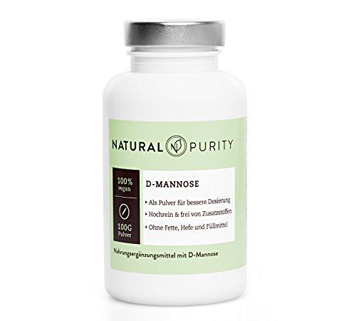 D-Mannose Pulver – 100g Dose – 100% naturbelassen, rein & ohne Zusatzstoffe, Fette, Hefen oder Füllmittel – Einfache Dosierung – Natural Purity