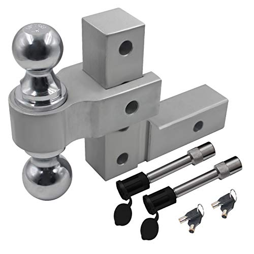 """OPENROAD 6""""Drop Adjustable Aluminum Trailer Hitch,5000lbs-7700lbs Towing Hitch Mount, 2""""and 50mm Hitch Ball, 2PACK 5/8inch Trailer Hitch Pin Lock and 4PACK Safety Hitch Lock,2"""" Hitch Receiver Tube"""