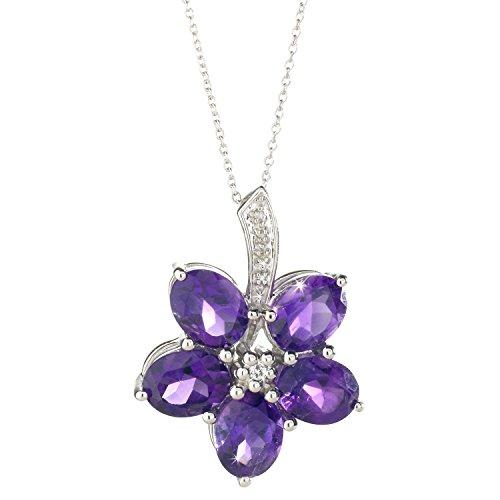 Colgante de flor - Amatistas, diamantes y topacios blancos sobre plata - 45 cm