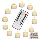 Battery Operated Flameless Fake Tea Light Candles Set of 12,Flickering Moving Wick LED Tea Light with Remote Control Timer for Seasonal Festival Celebration Thanksgiving & Christmas