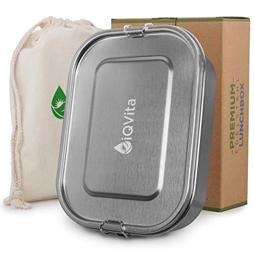 iQVita® Premium Edelstahl Brotdose – 1400ml – Auslaufsichere Lunchbox mit Flexibler Trennwand – 2 Fächer – BPA- & Plastikfrei – Umweltfreundlich und Nachhaltig – Vesperdose für Kinder & Erwachsene
