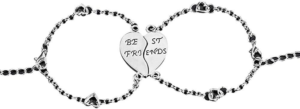 Summer Bracelets String Chain Charm Jewelry 2Pcs Best Friends Heart Joint Pattern Bracelets Bangle Friendship Jewelry Gift for Women Girls Gifts (Sliver)