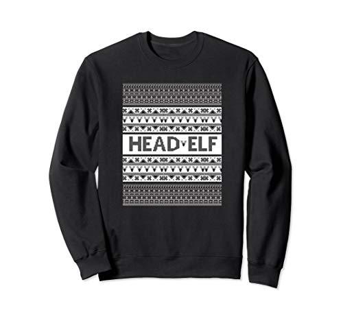Head Elf Ugly Christmas Sweater Style Sweatshirt