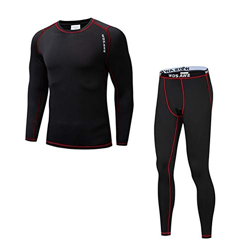 MLSice Conjunto térmica fleece ropa interior, capa deporte ciclismo long johns base...
