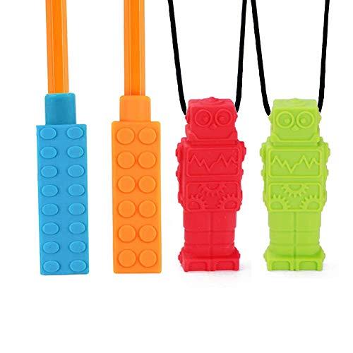 Xiangmall Collar Mordedor Silicona con 2 Colgante Masticar y 2 Pencil Toppers para Autismo TDAH Niño