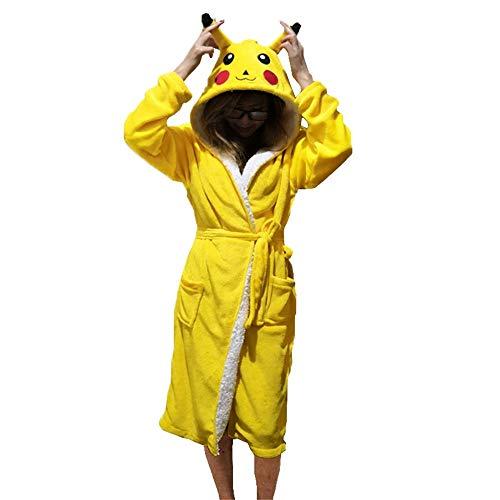 PANGZAI Unisex Tier Pyjama Robe Schlaf niedlichen Pyjama Einhorn Robe Bademantel Winter Home Service Damen Roben, Pikachu, L