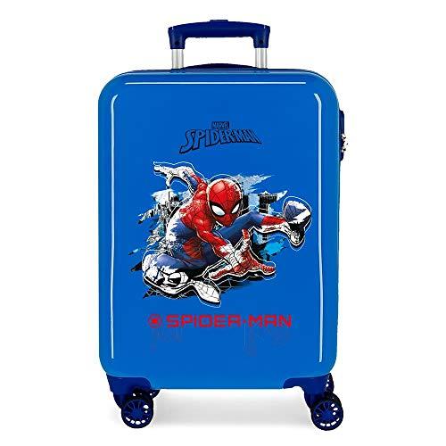 Marvel Spiderman Geo Maleta de cabina Azul 37x55x20 cms Rígida ABS Cierre...