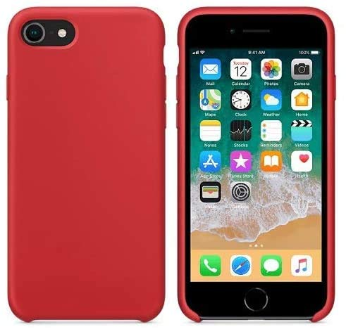 New Phoone - Funda de Silicona iPhone | Funda de iPhone 7 - Funda iPhone 8 o Funda iPhone SE 2020 - Funda Ligera con Tacto Suave, Resistente y Antigolpes de Color Rojo
