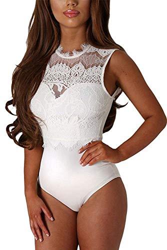 Aranmei - Body - para mujer Blanco blanco Small (Ropa)