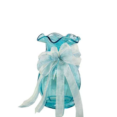 DIHAO Florero de Cristal Floreros Multicolores Flores Planta hidropónica Colorida Oficina en casa Boda Azul 20cm