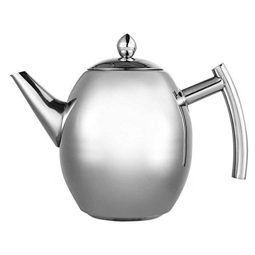 Tetera con filtro de té, filtro de café, infusor de té de acero inoxidable para cocina, cafetería, hotel, restaurante y oficina, 1 L