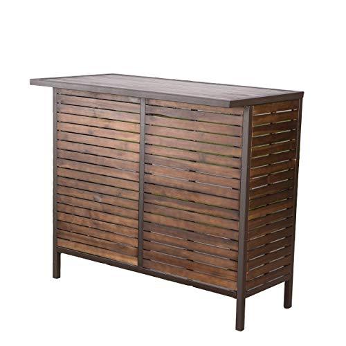Christopher Knight Home Milos Acacia Bar Table, Dark Brown / Rustic Metal