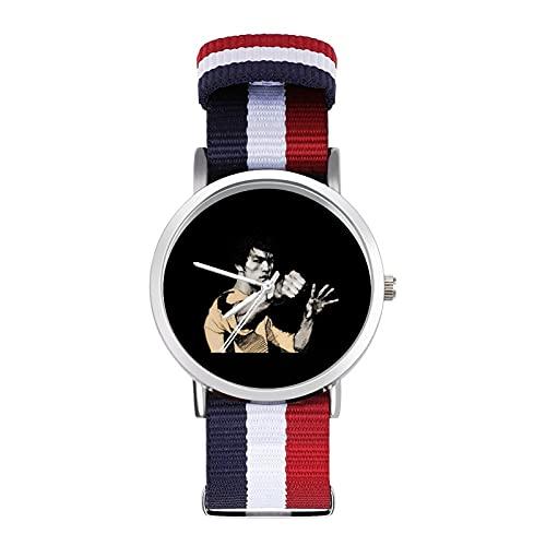 Bruce LeeBraided - Reloj de pulsera con escala ajustable para negocios, color de impresión de banda adecuada tanto para hombres como para mujeres