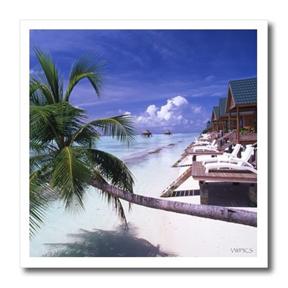 3dRose ht_46234_2 The Island Resort of Maldives-Iron on Heat Transfer Paper for White Material, 6 by 6-Inch