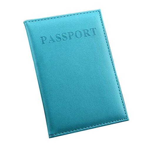 Zn Piel Sintética Color Sólido para pasaporte Proteger Funda Organizador multicolor azul claro