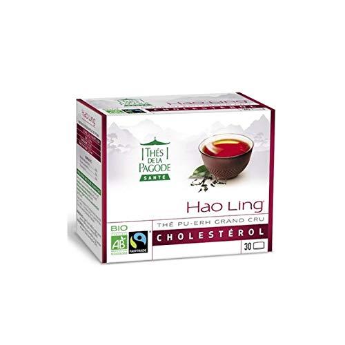 Thés de la Pagode - Hao Ling Bio Fair Trade Tee - Praktisches und wirtschaftliches Format - Reguliert den Cholesterinspiegel - 30 Teebeutel