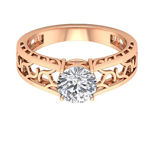 1.3Ct Certified Solitaire Moissanite Wedding Ring, Women Partywear Ring, DE-VS1 Color Clarity Gemstone Bridal Ring, Unique Filigree Engraved Gold Ring, 18K Rose Gold, Size:US 4.0