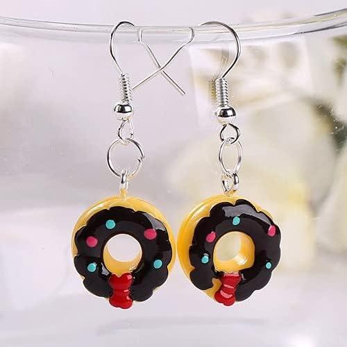 VasyShop 1pair Women Drop Earrings Flatback Resin Donuts Charms Fashion Jewelry Colorful Fake Food Dangle Earrings-87313