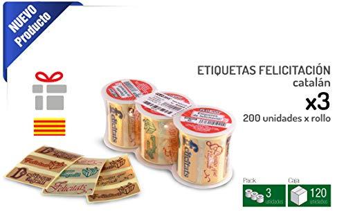 FLOJIM 600 Etiquetas de felicitación, Pegatinas de FELICIDADES, en Catalan - Moltes felicitats - 3 Rollos de 200 Unidades