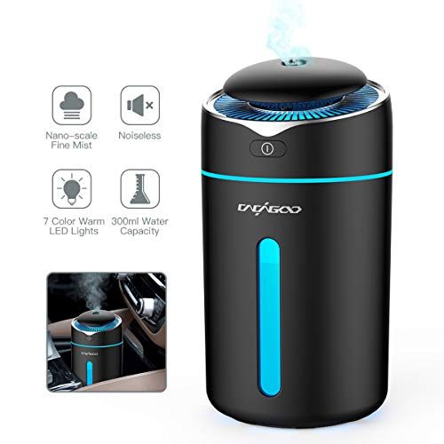 CACAGOO Car Humidifier, USB Car Diffuser 300ml Mini Cool Mist Air Refresher Ultrasonic Air Humidifier with 7 Color LED Lights, Waterless Auto Shut-Off, for Baby Room/Office/Car Travel(Black)