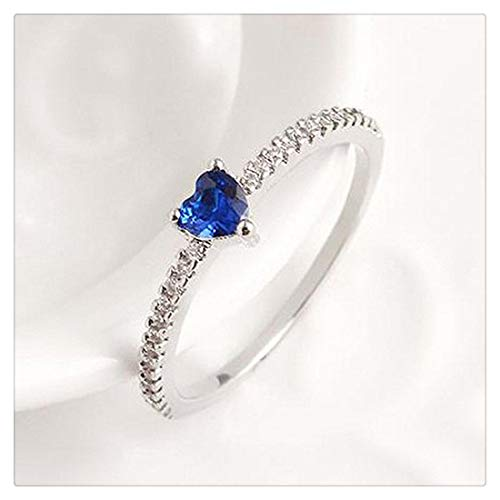 VWH Women Girls Small Crystal Stone Ring Slim Ring Heart Shape Band Ring Jewelry Accessory(Silver Size 6)