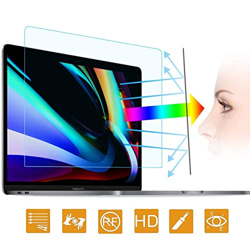 Price comparison product image 2PC Anti Blue Light Laptop Screen Protector Compatible with MacBook Pro 16 Inch 2019 Released with Touch ID & Touch Bar (A2141) - Anti-Glare / Anti Scratch Matte Laptop Screen Protector Guard