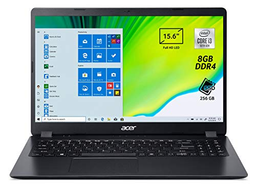 Acer Aspire 3 A315-54-33SG Pc Portatile, Notebook, Processore Intel Core i3-10110U, RAM 8 GB DDR4,256GB PCIe NVMe SSD,Display 15.6' FHD LED LCD,Scheda Grafica Intel UHD,Windows 10 Home in S mode, Nero