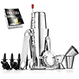 Mixology Bartender Cocktail Shaker Set - 15 & 30 oz Stainless Steel Cocktail Bar Set Mix Drink Shaker Kit - Essentials Martini Making Kit Drink Mixing Starter Set - NutriChef (15 Piece Set)