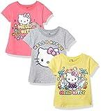 Hello Kitty - Juego de 3 Camisetas de Manga Corta con Cuello Redondo para niña, Pink/Gray/Yellow, 2 Años