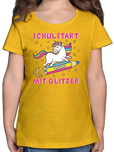 Einschulung und Schulanfang - Schulstart 2020 mit Glitzer - 128 (7/8 Jahre) - Gelb - Glitzer Kinder Shirt - F131K - Mädchen Kinder T-Shirt
