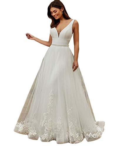 The Peachess Jumpsuits Brautkleider mit abnehmbarem Rock, Perlenspitze, Brautkleid, V-Ausschnitt - Weiß - 44
