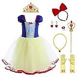 FYMNSI Blancanieve Disfraz Vestido Princesa Niña Cuento de Hadas Tutu Traje Infantil Marga Corta...