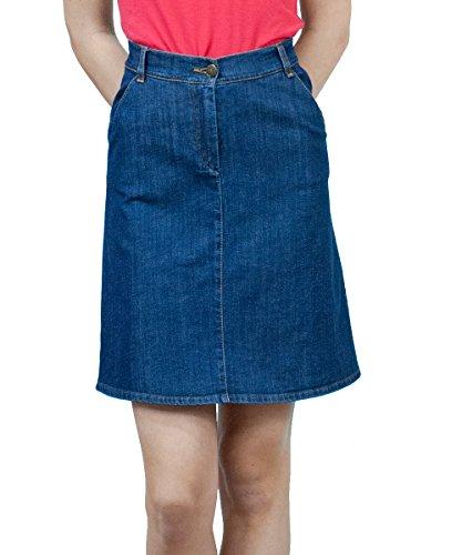 Souvenir-Fashion Damen Jeansrock A Linie Knielang Blau Denim Skirt Blend Jeansröcke Kurzer Skirt Knielanger Rock Jeans Größe 36 38 40 42 44 46 48 50