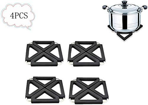 Bestofu 4pcs Black Potholders Adjustable Foldable for Hot Dishes Silicone Metal Trivet Kitchen Table Dish Mats