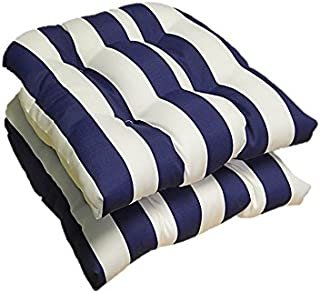 Set of 2 - Universal Tufted U-shape Cushions for Wicker Chair Seat - Navy Blue and White Stripe - Indoor / Outdoor