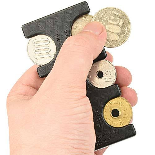 ANZOBEN コインホルダー 携帯 硬貨収納 小銭財布 軽量 コンパクト 片手で取り出せ ブラック