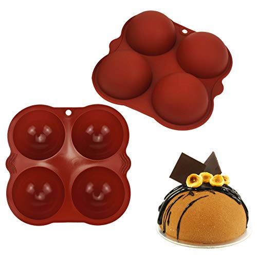 Semi Sphere Chocolate Silicone Mould Set of 2, 4 Cavity Fondant Mold Pan, Mini Ball Semi Circular Bakeware Moulds Tray, for DIY Baking Cookie Candy Chocolates Decoration