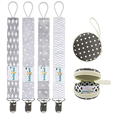 Babygoal Baby Pacifier Clips with Pacifier Case, 4 Pack Plastic Teething Clips Fits All Pacifier Styles for Girls and Boys, Baby Shower Gift 4MP07-HZ