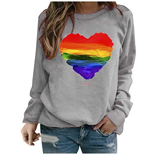 YANFANG Sudadera sin Capucha para Mujer, Moda Mujer Manga Larga Amor con Estampado de corazón de Color sólido Sweatershirt Blusa Suelta Tops, Gray,XL