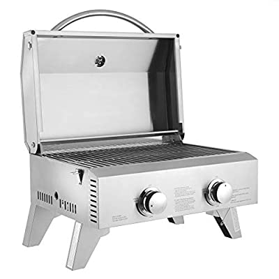 ROVSUN Tabletop Propane Grill 2-Burner, Portable Camping Gas Grill Stainless Steel for Outdoor Cooking Patio Garden BBQ Picnic Tailgating Trip Home Use, 20,000 BTU with Regulator