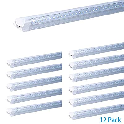 12-Pack 2FT 20w T8 Dual Side V Shape Integrated LED Tube Light,270 Degree Angle Design Plug and Play, White Daylight 6500K, 2 Foot AC100-277V Clear Cover (2ft 20w, 12 Pack)