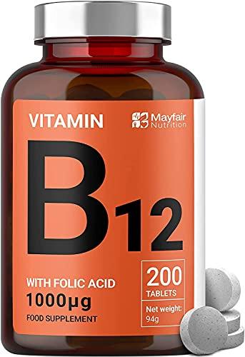 Vitamina B12 con ácido fólico | 200 tabletas de primera calidad de 1000 mg | Suplemento vegetariano y vegano | No OGM y sin gluten | Suministro para 6 meses
