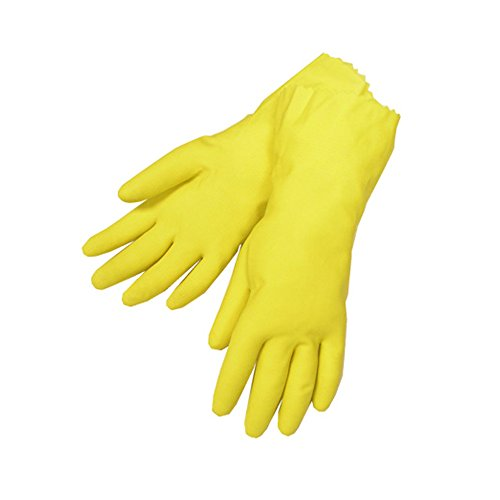 Size Medium - 3 Pairs (6 Gloves) 12' - Gloves Legend - Yellow Flock Lined Latex Household Kitchen...