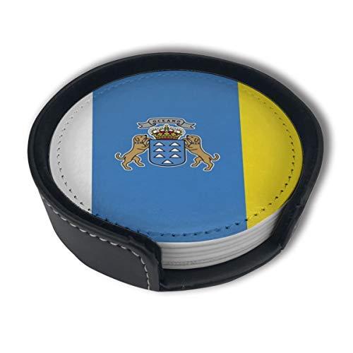 BJAMAJ Flaggen der Kanarischen Inseln Premium PU-Leder Untersetzer Getränke-runde Untersetzer mit Halter-Sets, geeignet für Zuhause und Küche (6 Stück)