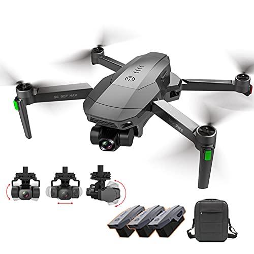 UAUA Drone con cámara 4K HD para adultos, cardán antivibración, Drone plegable para principiantes, FPV RC Quadcopter con funda de transporte 3 baterías