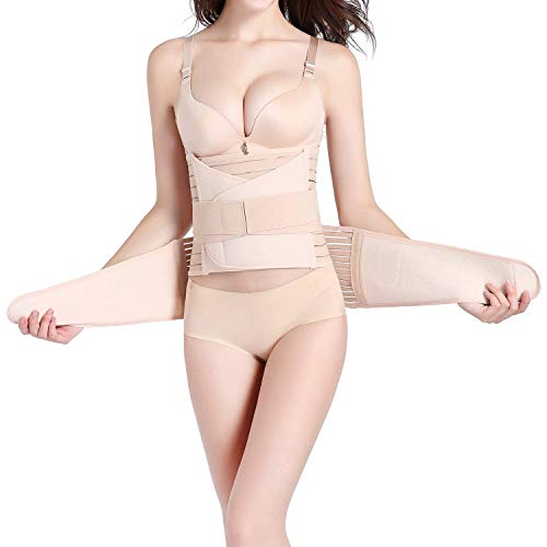 3 in 1 Postpartum Belly Wrap, Women C Section Girdle Belt Post Partum Support Recovery Band Beige