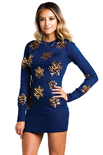 Women's Sequined Snowflake Christmas Sweater Dress - Navy and Gold Cute Snowflake Dress: XX-Large