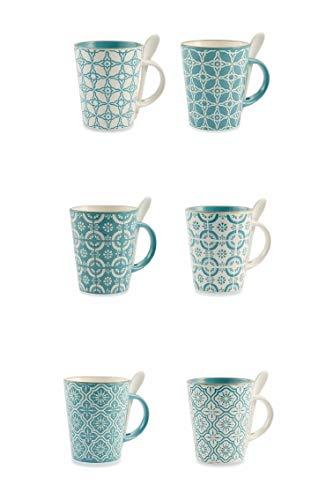 Villa d'Este Home Tivoli 2190717 Madeira - Juego de 6 tazas de café, gres, surtido